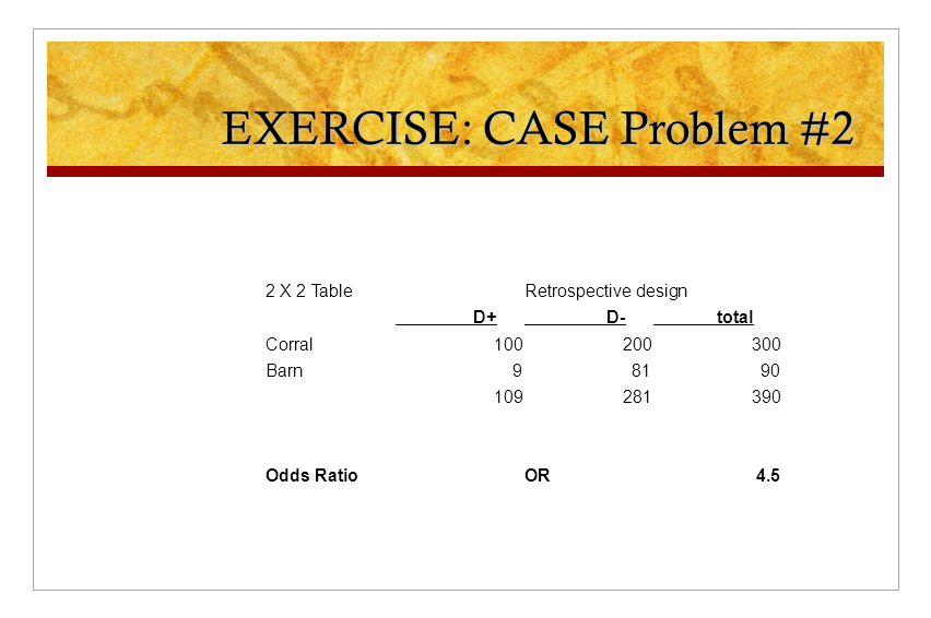 EXERCISE: CASE Problem #2 2 X 2 TableRetrospective design D+ D- total Corral100200300 Barn98190 109281390 Odds RatioOR4.5