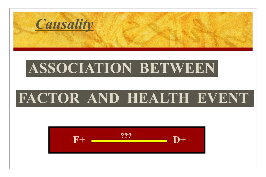 Causality ASSOCIATION BETWEEN FACTOR AND HEALTH EVENT F+D+ ???