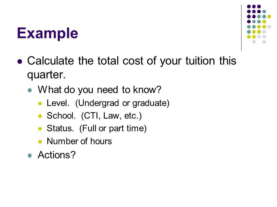 Example Calculate the total cost of your tuition this quarter. What do you need to know? Level. (Undergrad or graduate) School. (CTI, Law, etc.) Statu