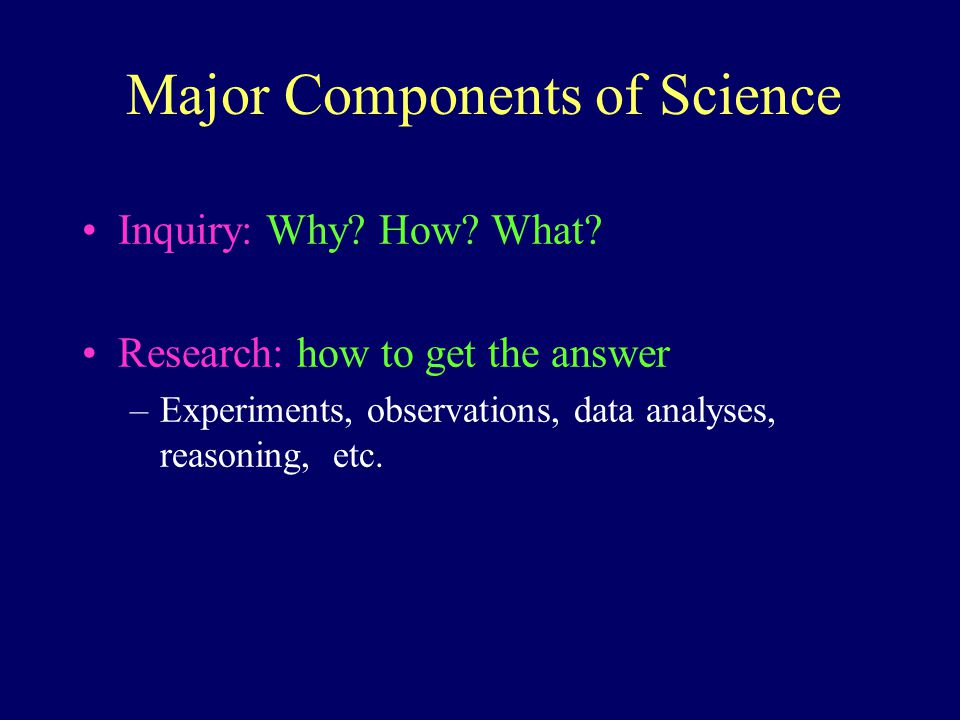Major Components of Science Inquiry: Why. How. What.