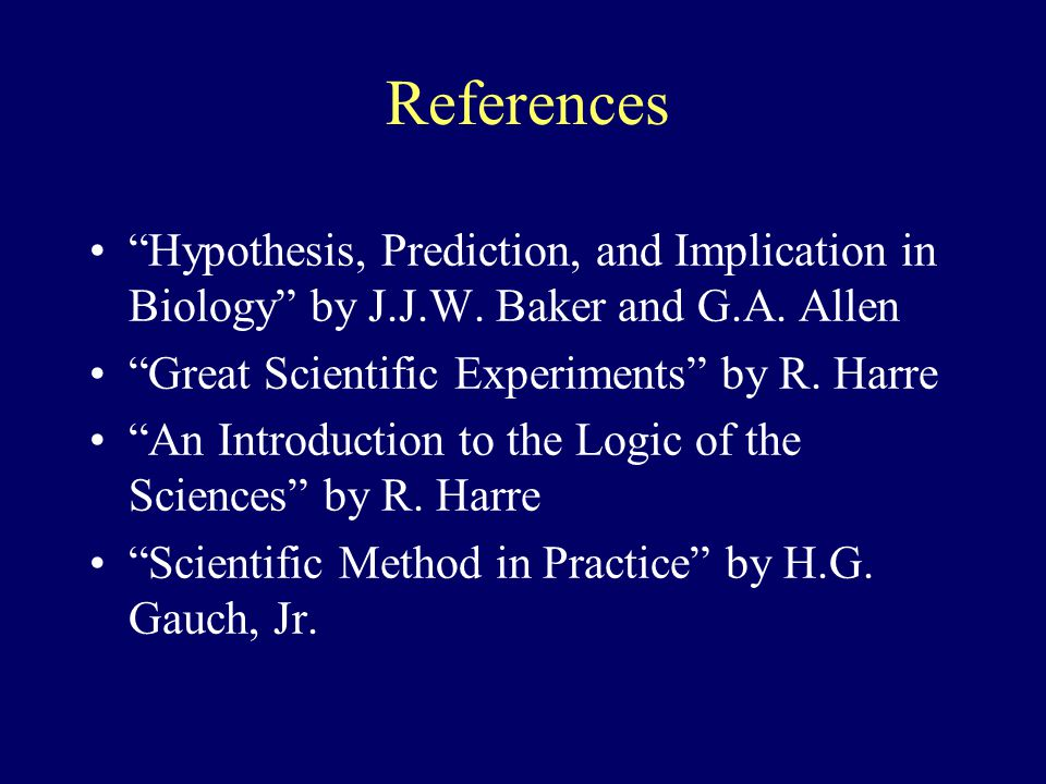 References Hypothesis, Prediction, and Implication in Biology by J.J.W. Baker and G.A. Allen Great Scientific Experiments by R. Harre An Introduction