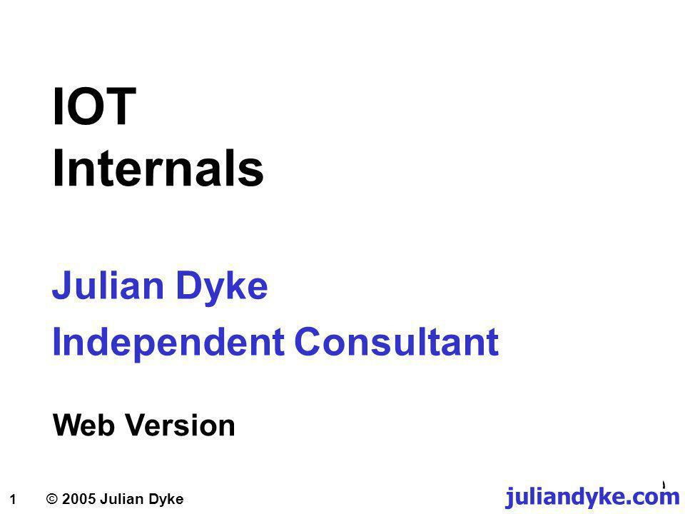 juliandyke.com © 2005 Julian Dyke 32 IOT Secondary Indexes Execution Plans CREATE TABLE team ( team_keyVARCHAR2(3), team_nameVARCHAR2(50), country_keyVARCHAR2(3), CONSTRAINT team_pk PRIMARY KEY (team_key) ) ORGANIZATION INDEX; SELECT team_key,team_name FROM team WHERE country_key = ITA; CREATE INDEX team_country ON team (country_key); 0SELECT STATEMENT 10INDEX (UNIQUE SCAN) OF TEAM_PK 21INDEX (RANGE_SCAN) OF TEAM_COUNTRY;