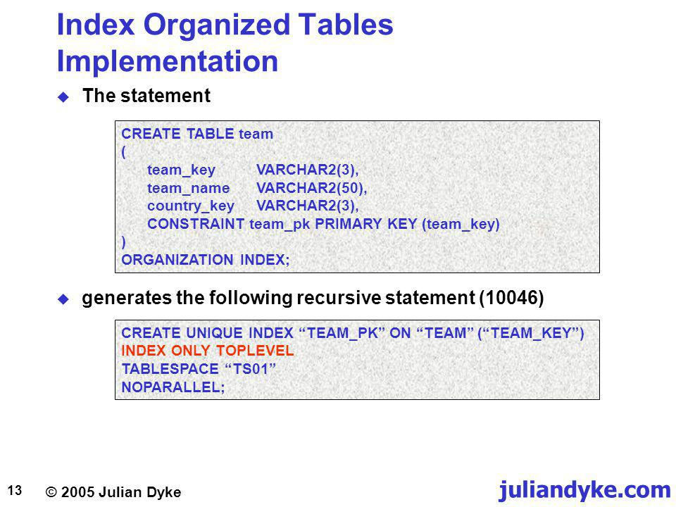 juliandyke.com © 2005 Julian Dyke 13 Index Organized Tables Implementation The statement CREATE TABLE team ( team_keyVARCHAR2(3), team_nameVARCHAR2(50), country_keyVARCHAR2(3), CONSTRAINT team_pk PRIMARY KEY (team_key) ) ORGANIZATION INDEX; CREATE UNIQUE INDEX TEAM_PK ON TEAM (TEAM_KEY) INDEX ONLY TOPLEVEL TABLESPACE TS01 NOPARALLEL; generates the following recursive statement (10046)