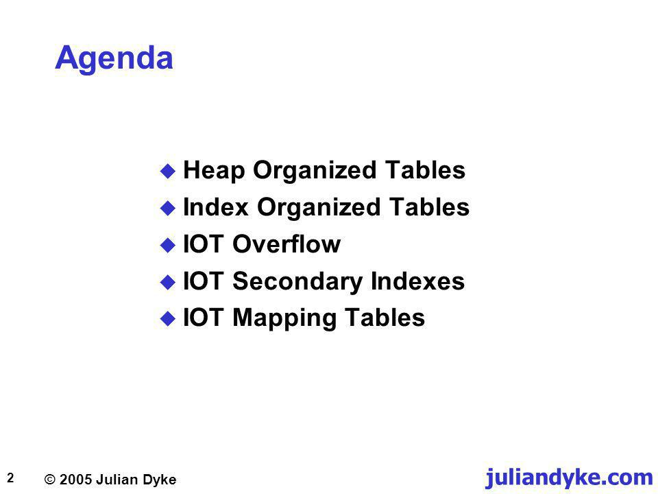 juliandyke.com © 2005 Julian Dyke 23 IOT Overflow Introduction Introduced in Oracle 8.0 Inefficient to store long rows in index segment Store rarely accessed columns in overflow segment Primary key rows always stored in index segment Non-key rows can stored in index segment or overflow Overflow segment is additional table segment Index row includes six byte ROWID for overflow row