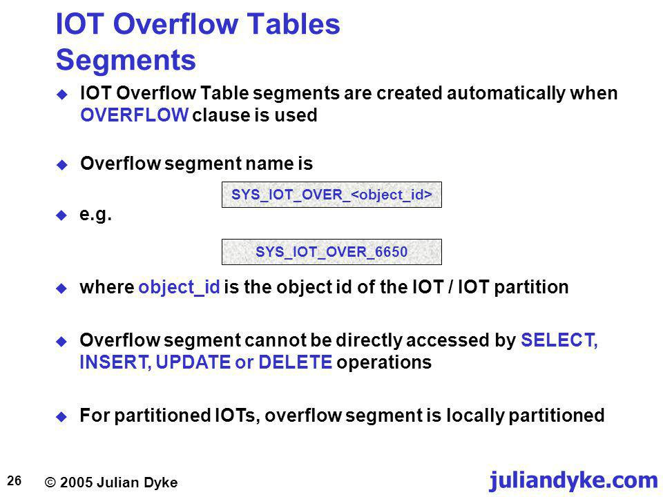 juliandyke.com © 2005 Julian Dyke 26 IOT Overflow Tables Segments IOT Overflow Table segments are created automatically when OVERFLOW clause is used Overflow segment name is where object_id is the object id of the IOT / IOT partition Overflow segment cannot be directly accessed by SELECT, INSERT, UPDATE or DELETE operations For partitioned IOTs, overflow segment is locally partitioned SYS_IOT_OVER_ SYS_IOT_OVER_6650 e.g.