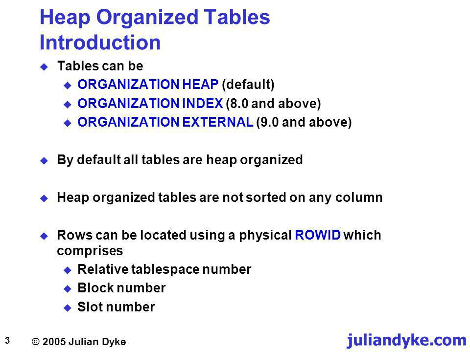 juliandyke.com © 2005 Julian Dyke 14 Index Organised Tables Heap tables versus IOTs CREATE TABLE team ( team_keyVARCHAR2(3), team_nameVARCHAR2(50), country_keyVARCHAR2(3) CONSTRAINT team_pk PRIMARY KEY (team_key); ) ORGANIZATION HEAP; CREATE TABLE team ( team_keyVARCHAR2(3), team_nameVARCHAR2(50), country_keyVARCHAR2(3) CONSTRAINT team_pk PRIMARY KEY (team_key); ) ORGANIZATION INDEX; Heap-organised tableIndex-organised table SELECT team_name FROM team WHERE team_key = FER; SELECT STATEMENT INDEX (UNIQUE SCAN) OF TEAM_PK SELECT STATEMENT TABLE ACCESS (BY INDEX ROWID) OF TEAM INDEX (UNIQUE SCAN) OF TEAM_PK