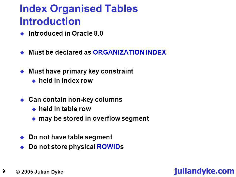 juliandyke.com © 2005 Julian Dyke 20 Index Organized Tables Column Ordering If primary key columns are not first in table declaration, Oracle will reorder columns within the segment CREATE TABLE team ( team_nameVARCHAR2(50), country_keyVARCHAR2(3), team_keyVARCHAR2(3) PRIMARY KEY ) ORGANIZATION INDEX Column NameColumn Type team_nameVARCHAR2(50) country_keyVARCHAR2(3) team_keyVARCHAR2(3) DESCRIBE team NAMECOL#INTCOL#SEGCOL# team_name112 country_key223 team_key331 SYS.COL$