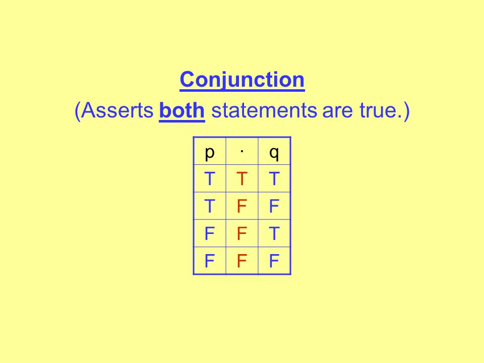 TRUTH TABLES The general truth tables for each of the connectives tell you the value of any possible statement for each of the connectives. Negation ~