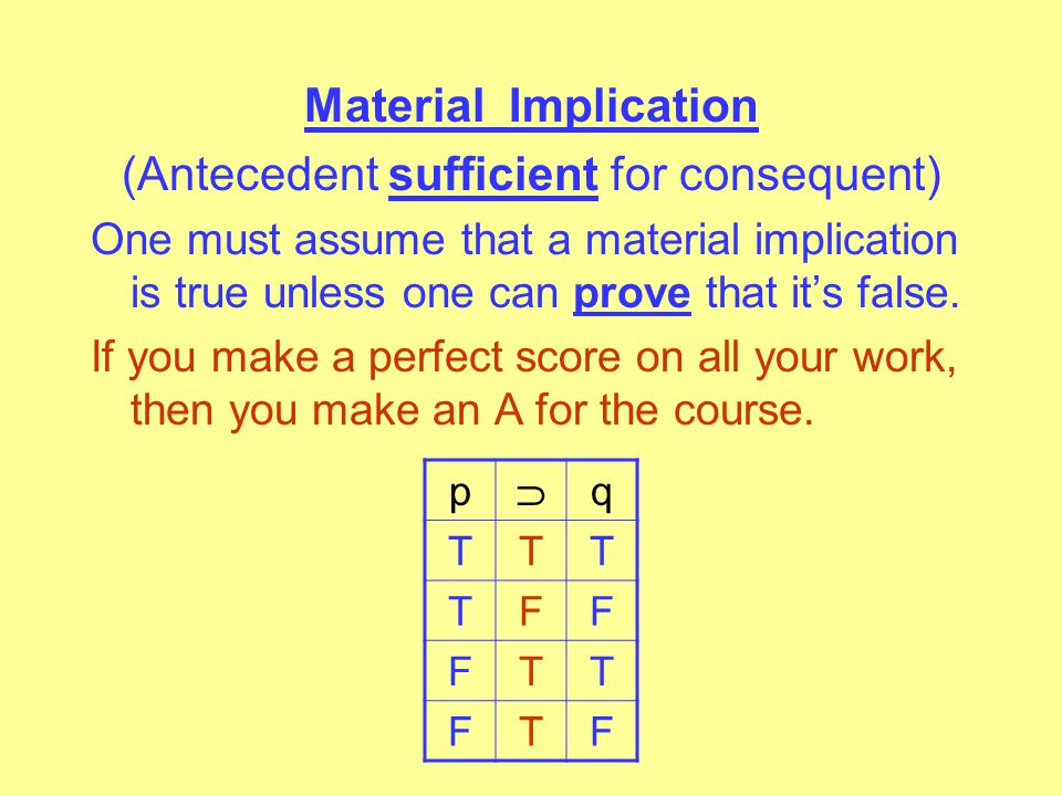 Material Equivalence (Asserts the statements always have the same truth value.) p q TTT TFF FFT FTF