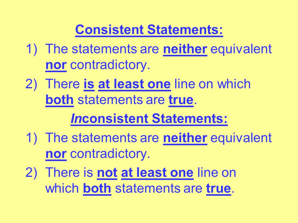 Logically Equivalent Statements: The two statements have the same truth value on every line beneath their main symbols. Logically Contradictory Statem