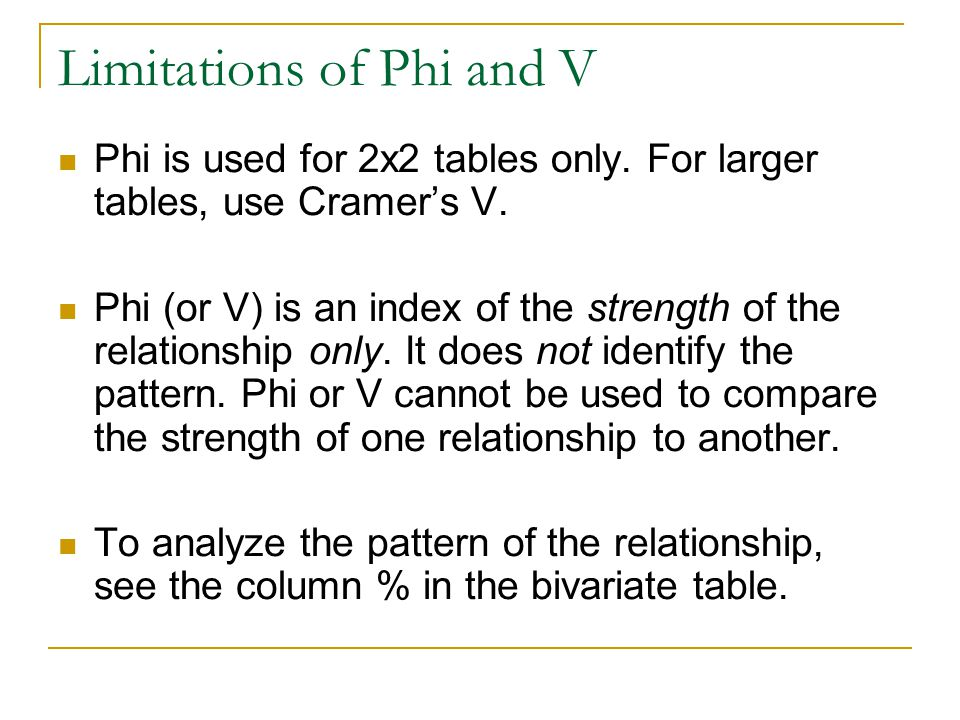 Limitations of Phi and V Phi is used for 2x2 tables only. For larger tables, use Cramers V. Phi (or V) is an index of the strength of the relationship