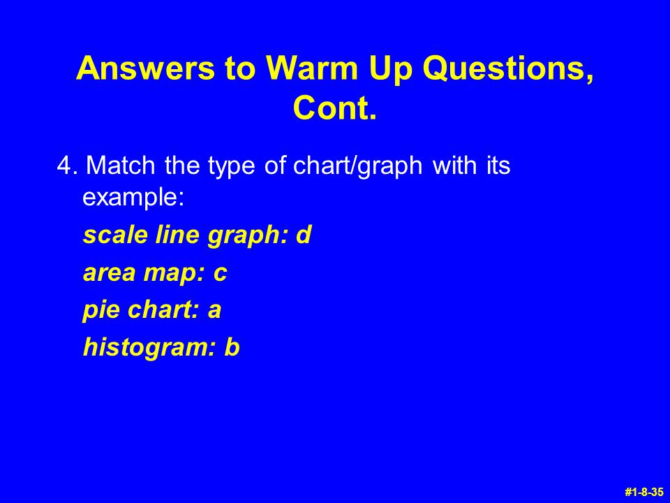Answers to Warm Up Questions, Cont. 4. Match the type of chart/graph with its example: scale line graph: d area map: c pie chart: a histogram: b #1-8-