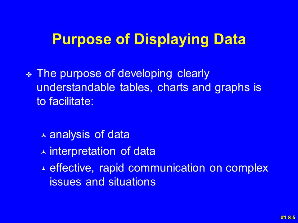 Purpose of Displaying Data v The purpose of developing clearly understandable tables, charts and graphs is to facilitate: © analysis of data © interpr