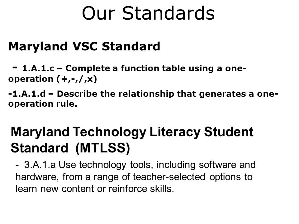 Our Standards Maryland VSC Standard - 1.A.1.c – Complete a function table using a one- operation (+,-,/,x) -1.A.1.d – Describe the relationship that generates a one- operation rule.