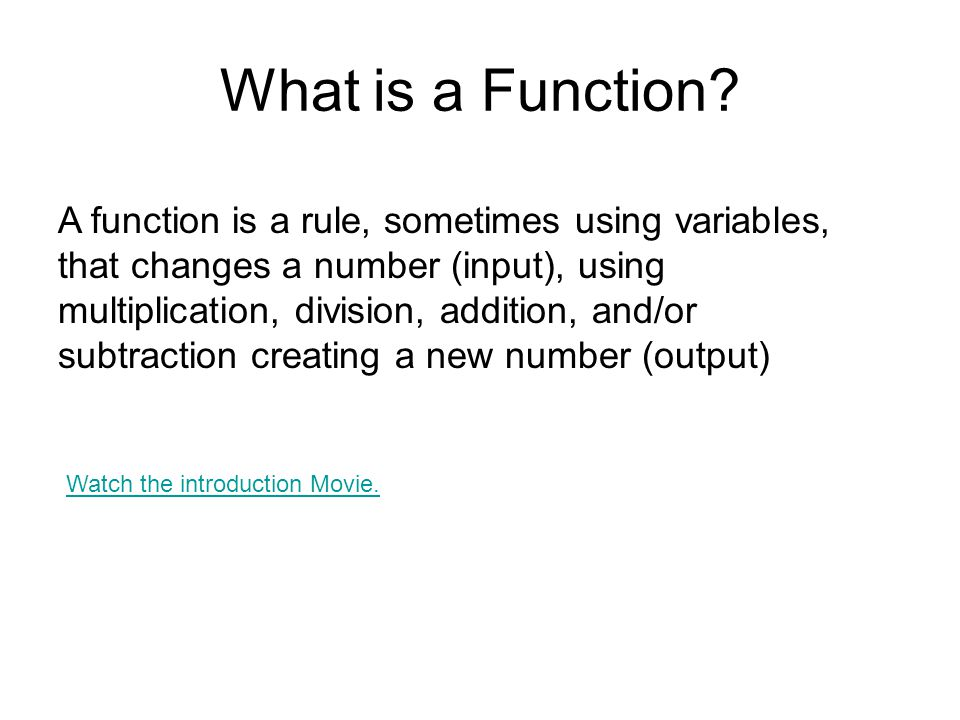 Function Tables InOut 618 412 5 7 9 30 15 21 3 10 The rule is x 3