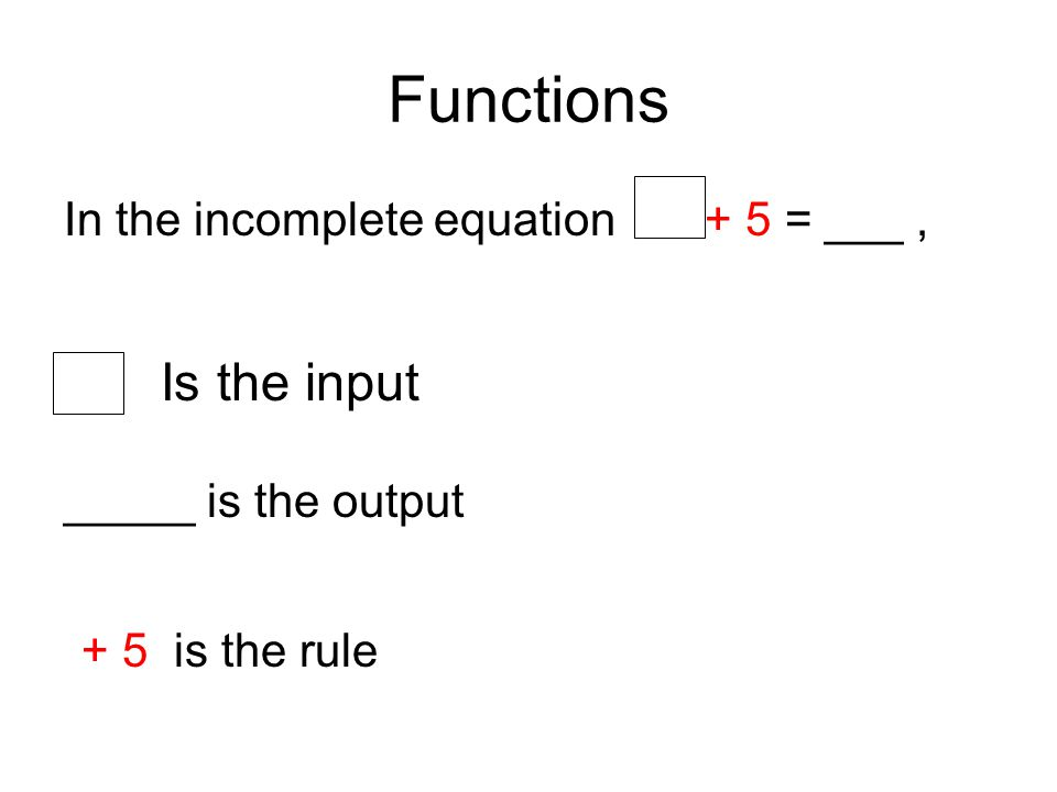 Practice using a Function In the incomplete equation + 5 = ___, INPUT 2 into Apply the rule + 5 2 + 5= ____ OUTPUT 7