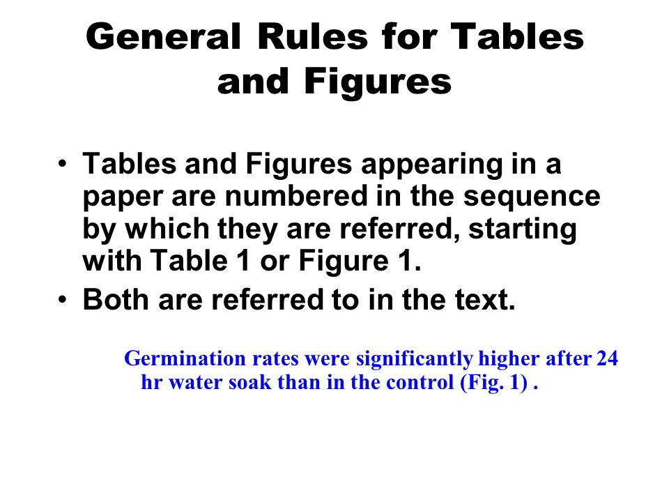 General Rules for Tables and Figures Tables and Figures appearing in a paper are numbered in the sequence by which they are referred, starting with Ta
