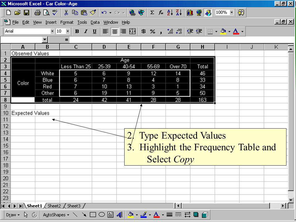4. Put cursor in cell below Expected Values and click Paste