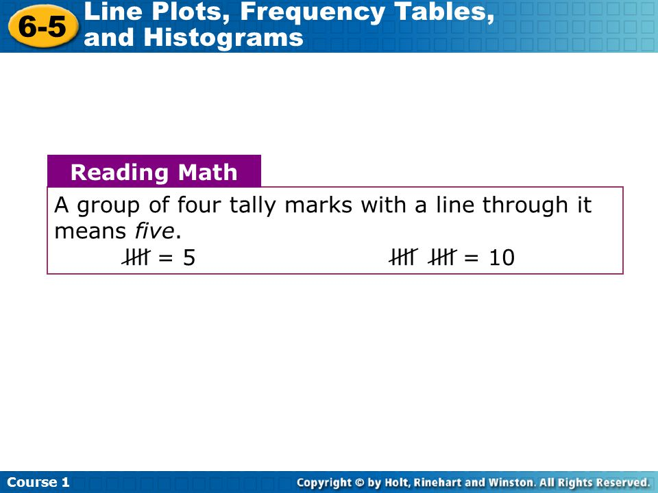 Course 1 6-5 Line Plots, Frequency Tables, and Histograms Additional Example 1 Continued Students in Mr.