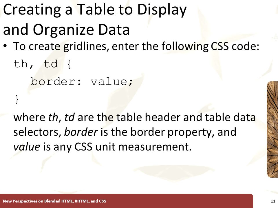 XP Creating a Table to Display and Organize Data To create gridlines, enter the following CSS code: th, td { border: value; } where th, td are the table header and table data selectors, border is the border property, and value is any CSS unit measurement.