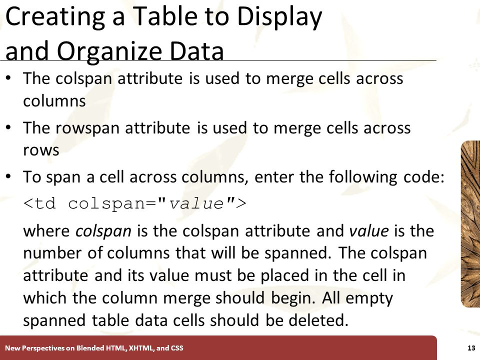 XP Creating a Table to Display and Organize Data The colspan attribute is used to merge cells across columns The rowspan attribute is used to merge cells across rows To span a cell across columns, enter the following code: where colspan is the colspan attribute and value is the number of columns that will be spanned.