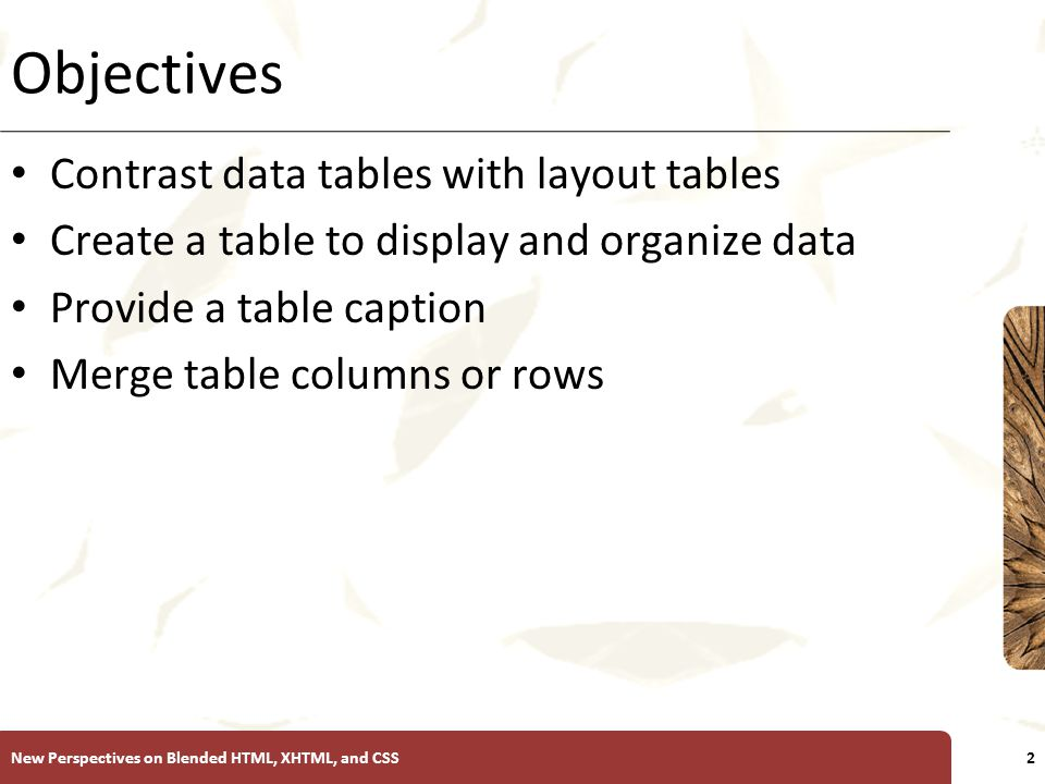 XP Objectives Contrast data tables with layout tables Create a table to display and organize data Provide a table caption Merge table columns or rows New Perspectives on Blended HTML, XHTML, and CSS2
