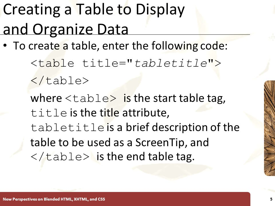 XP Creating a Table to Display and Organize Data To create a table, enter the following code: where is the start table tag, title is the title attribute, tabletitle is a brief description of the table to be used as a ScreenTip, and is the end table tag.