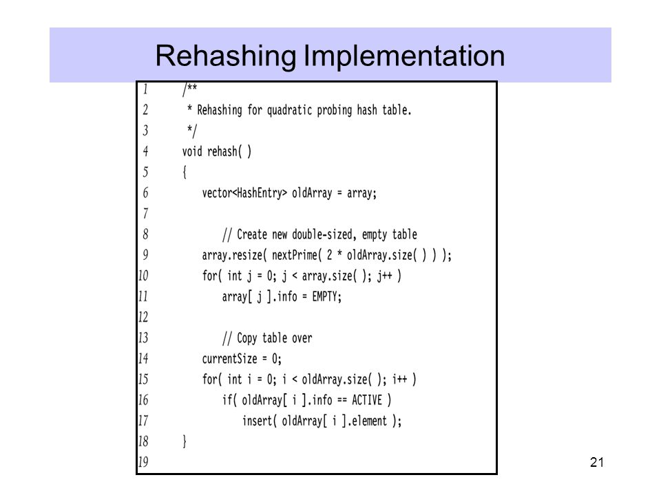 21 Rehashing Implementation