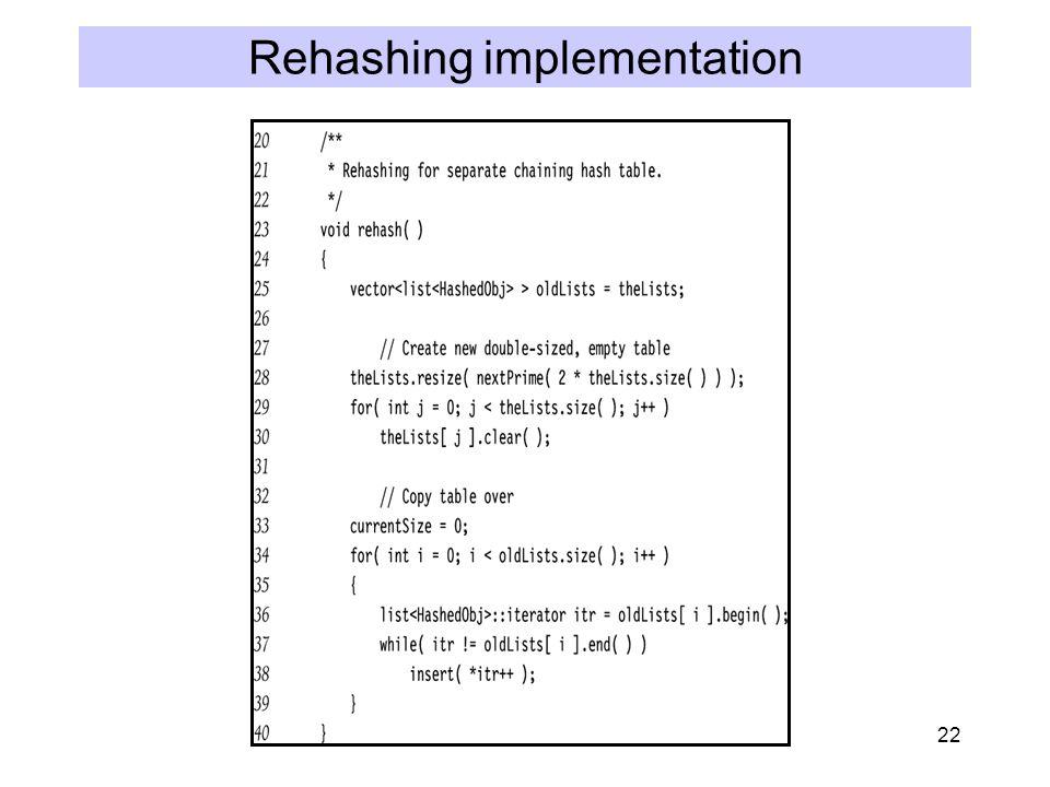 22 Rehashing implementation