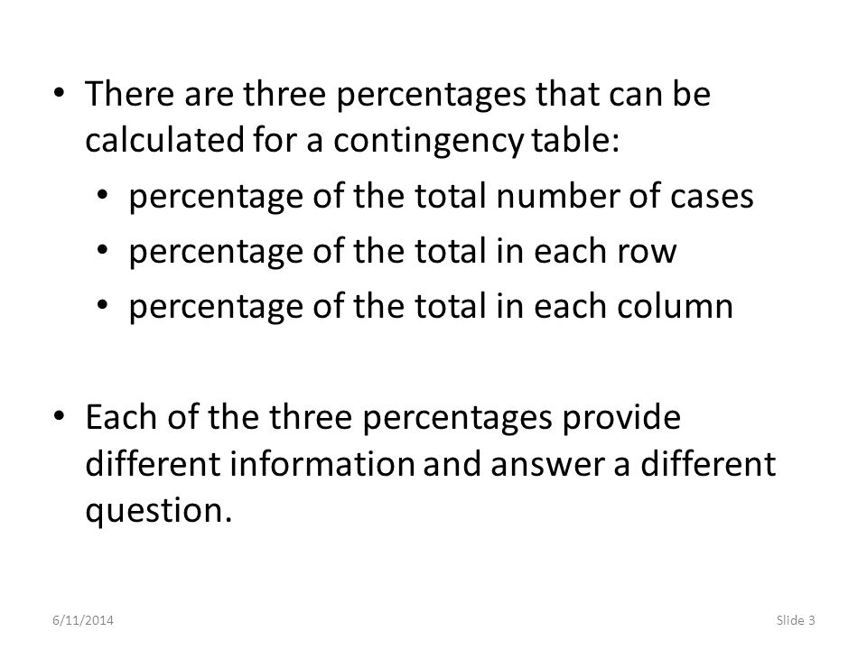 6/11/2014Slide 4 The percentage of the total number of cases is computed by dividing the number in each cell (e.g.