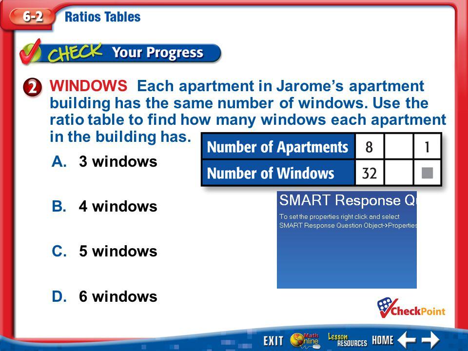 1.A 2.B 3.C 4.D Example 2 A.3 windows B.4 windows C.5 windows D.6 windows WINDOWS Each apartment in Jaromes apartment building has the same number of windows.