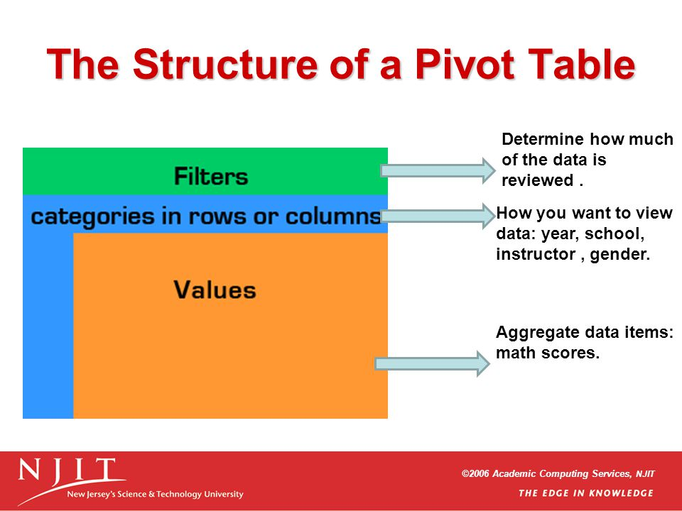 ©2006 Academic Computing Services, NJIT The Structure of a Pivot Table Determine how much of the data is reviewed.
