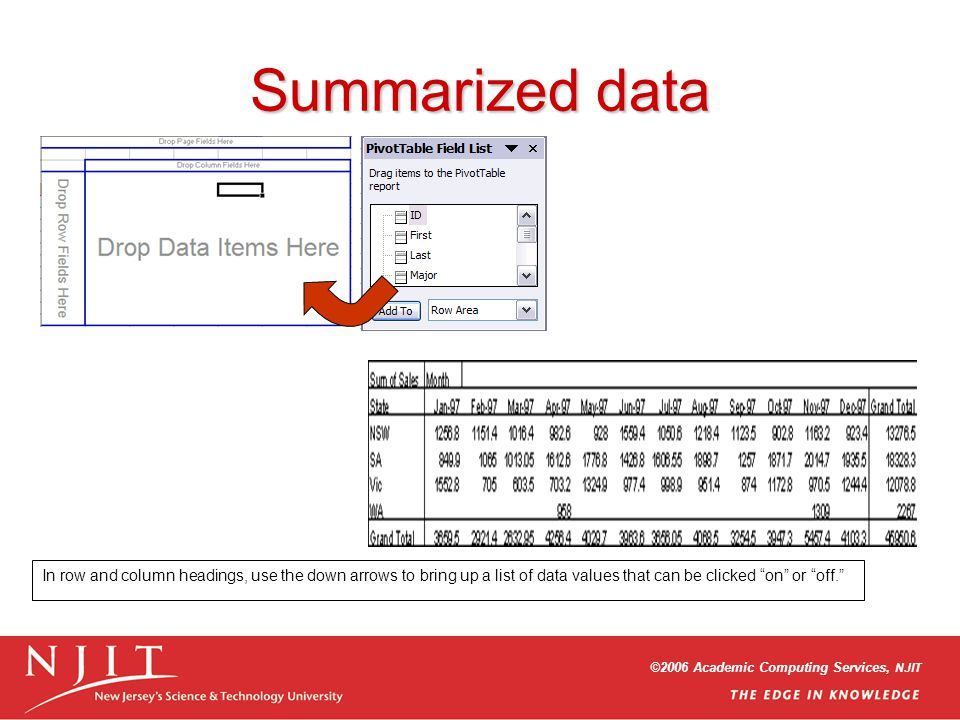 ©2006 Academic Computing Services, NJIT Summarized data In row and column headings, use the down arrows to bring up a list of data values that can be