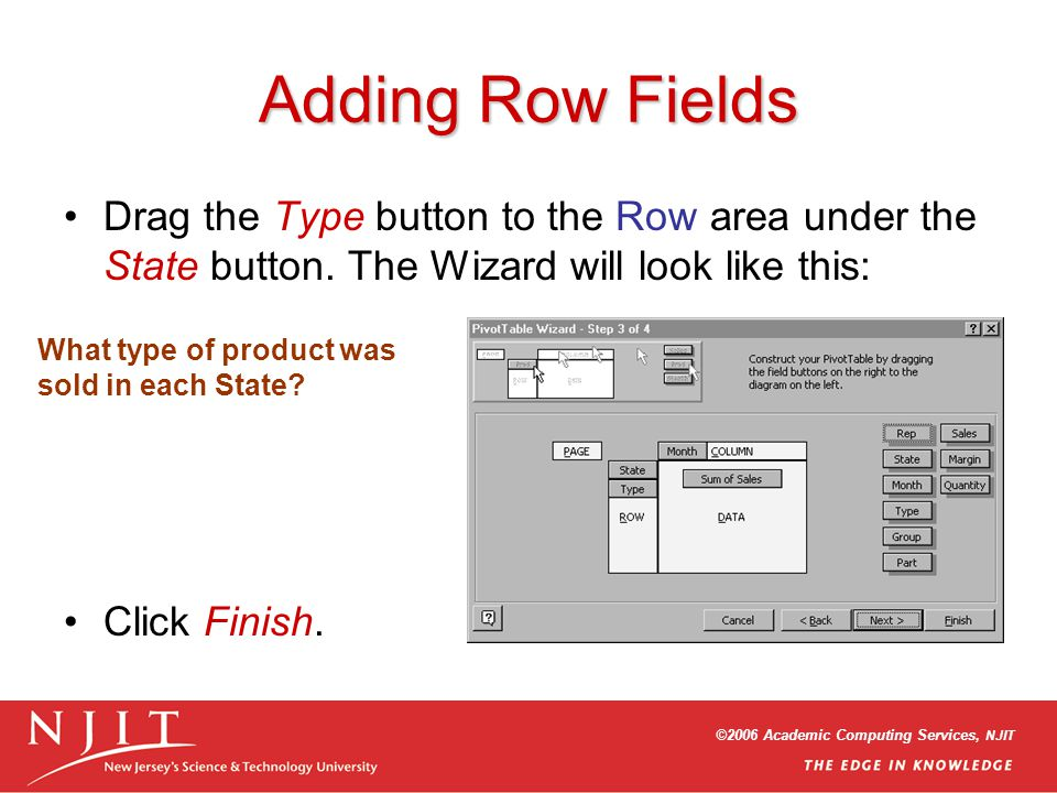©2006 Academic Computing Services, NJIT Adding Row Fields Drag the Type button to the Row area under the State button.