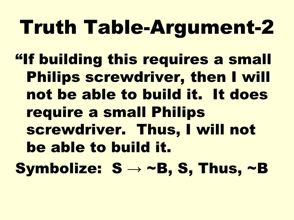 Truth Table-Argument-2 If building this requires a small Philips screwdriver, then I will not be able to build it. It does require a small Philips scr