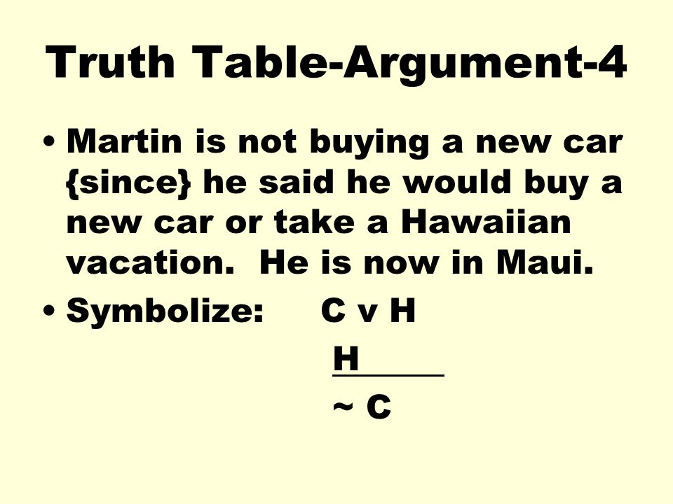 Truth Table-Argument-4 Martin is not buying a new car {since} he said he would buy a new car or take a Hawaiian vacation. He is now in Maui. Symbolize