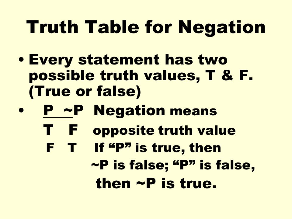 Truth Table for Negation Every statement has two possible truth values, T & F. (True or false) P ~P Negation means T F opposite truth value F T If P i