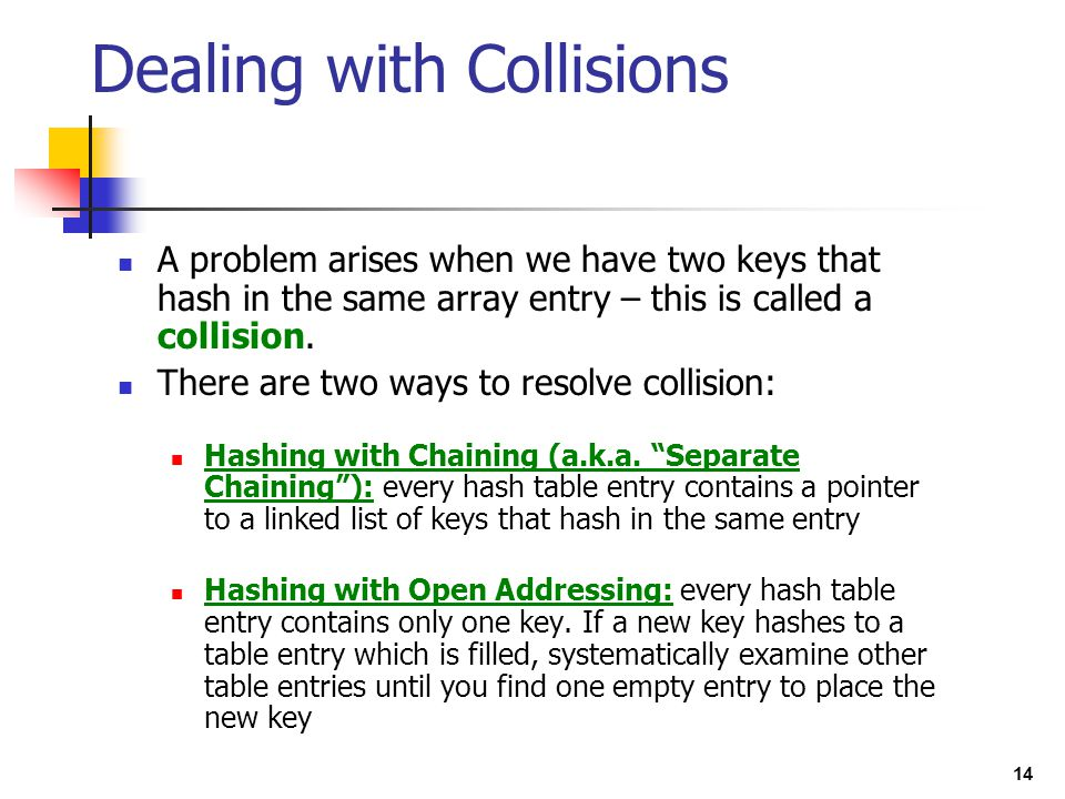 14 A problem arises when we have two keys that hash in the same array entry – this is called a collision. There are two ways to resolve collision: Has