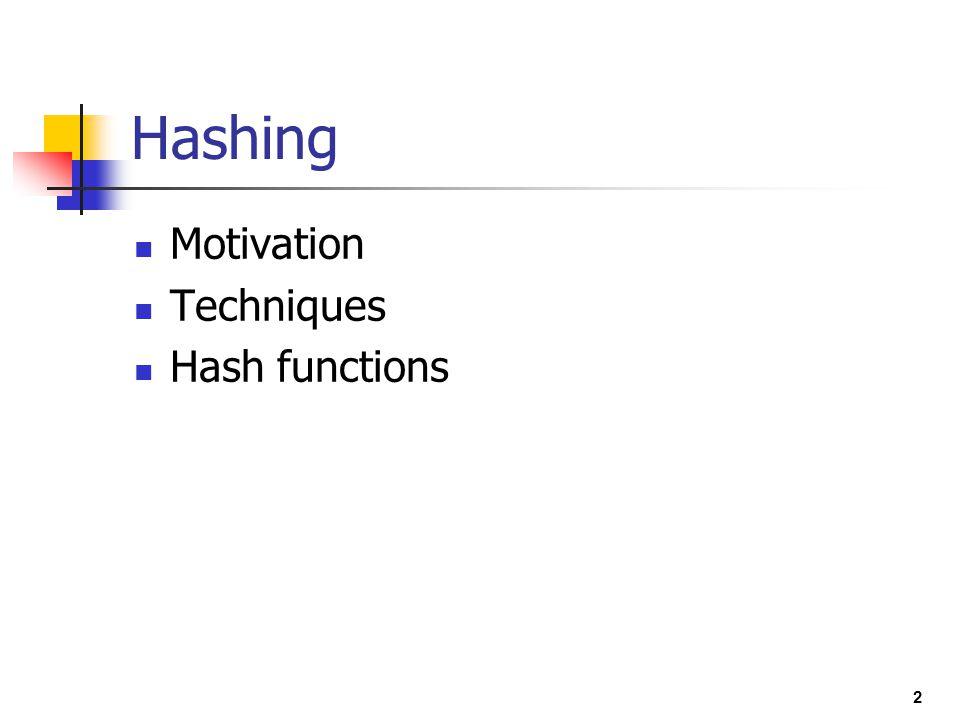 2 Hashing Motivation Techniques Hash functions