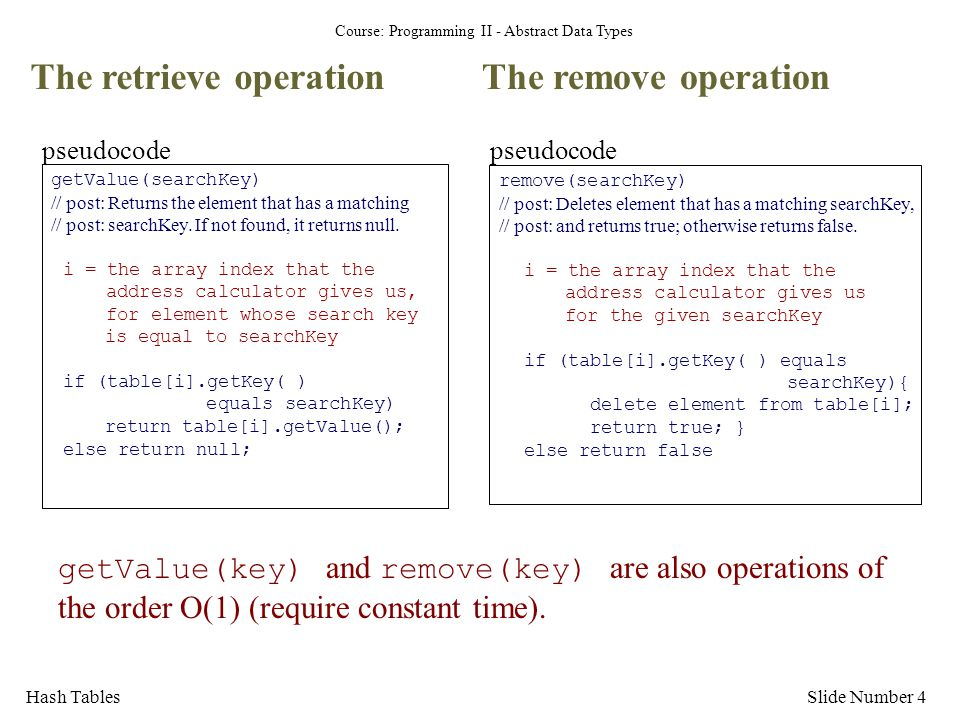 Course: Programming II - Abstract Data Types Hash TablesSlide Number 4 The retrieve operation getValue(key) and remove(key) are also operations of the