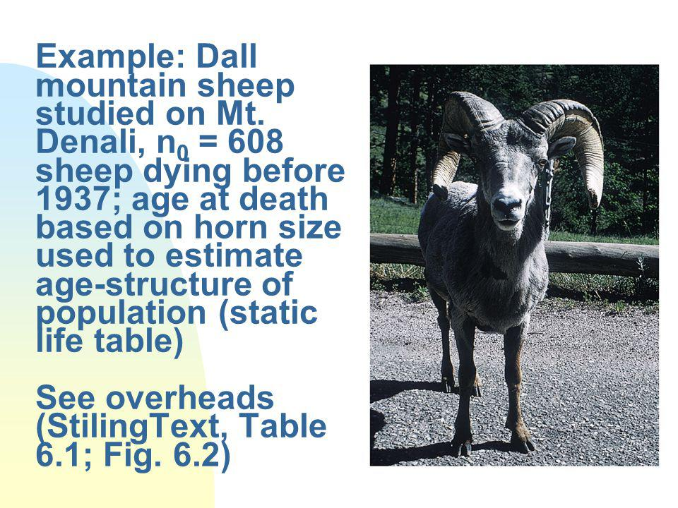 Example: Dall mountain sheep studied on Mt.