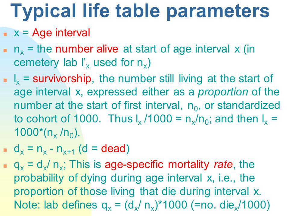 Typical life table parameters n x = Age interval n n x = the number alive at start of age interval x (in cemetery lab l x used for n x ) n l x = survivorship, the number still living at the start of age interval x, expressed either as a proportion of the number at the start of first interval, n 0, or standardized to cohort of 1000.