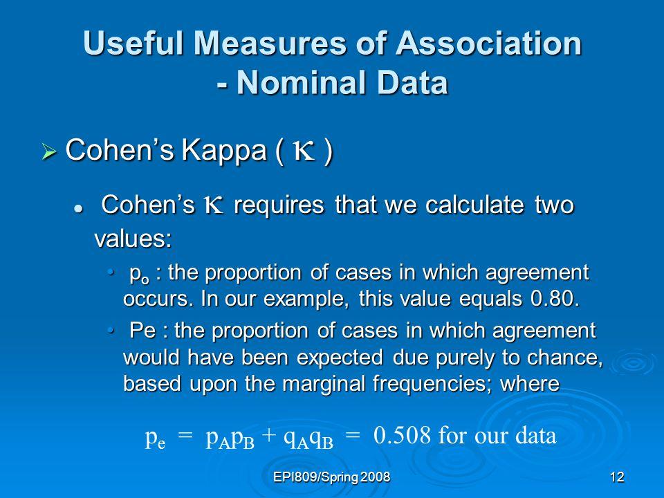 EPI809/Spring 200811 Useful Measures of Association - Nominal Data Cohens Kappa ( ) Cohens Kappa ( ) Inspector A GoodBad Inspector B Bad Good.40 (p B ).60 (q B ).46.54 1.00 (p A ) (q A )