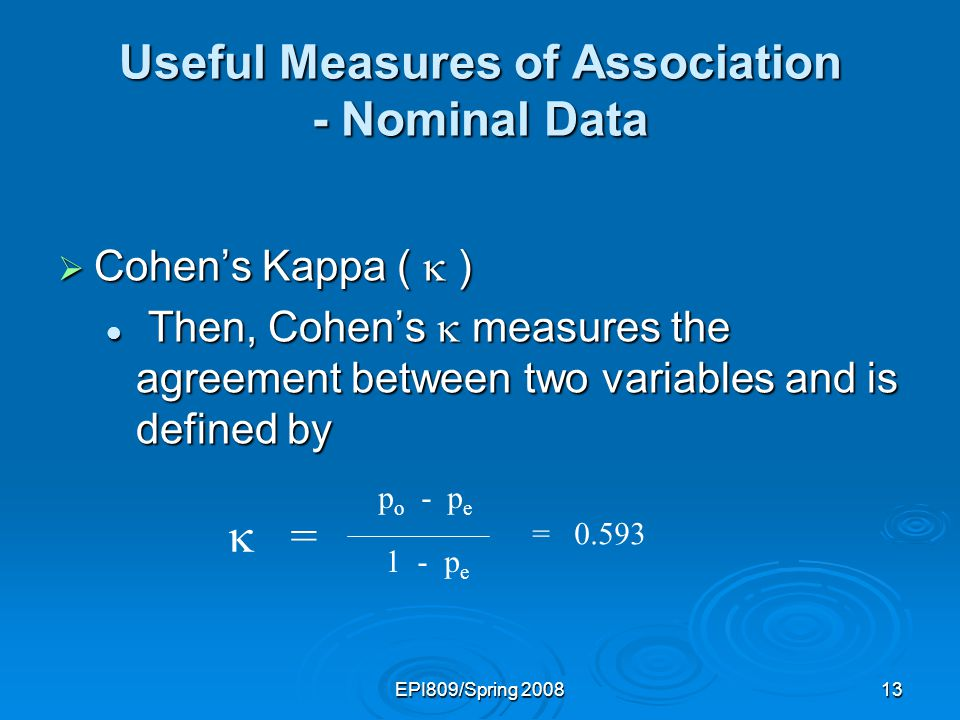 EPI809/Spring 200812 Useful Measures of Association - Nominal Data Cohens Kappa ( ) Cohens Kappa ( ) Cohens requires that we calculate two values: Cohens requires that we calculate two values: p o : the proportion of cases in which agreement occurs.
