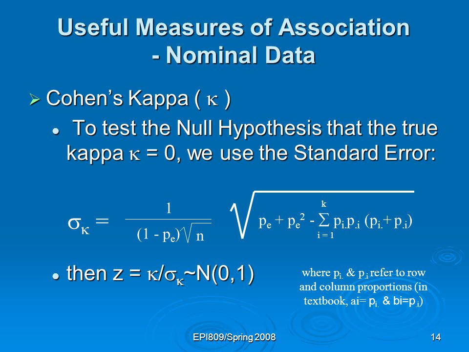 EPI809/Spring 200813 Useful Measures of Association - Nominal Data Cohens Kappa ( ) Cohens Kappa ( ) Then, Cohens measures the agreement between two variables and is defined by Then, Cohens measures the agreement between two variables and is defined by = p o - p e 1 - p e = 0.593
