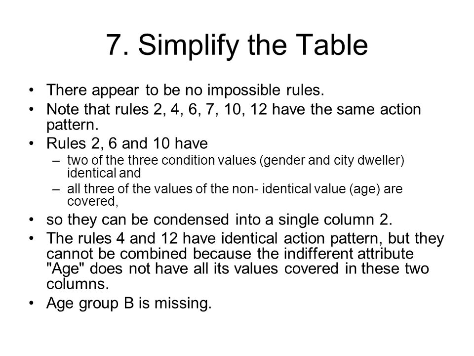 7. Simplify the Table There appear to be no impossible rules. Note that rules 2, 4, 6, 7, 10, 12 have the same action pattern. Rules 2, 6 and 10 have