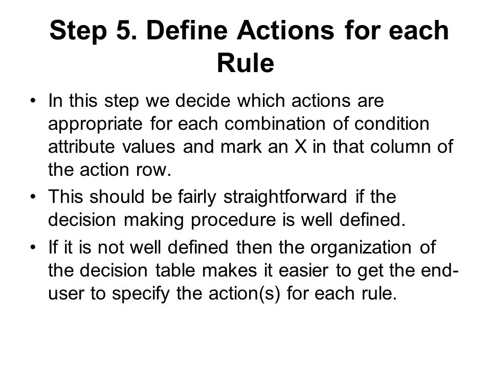 Step 5. Define Actions for each Rule In this step we decide which actions are appropriate for each combination of condition attribute values and mark
