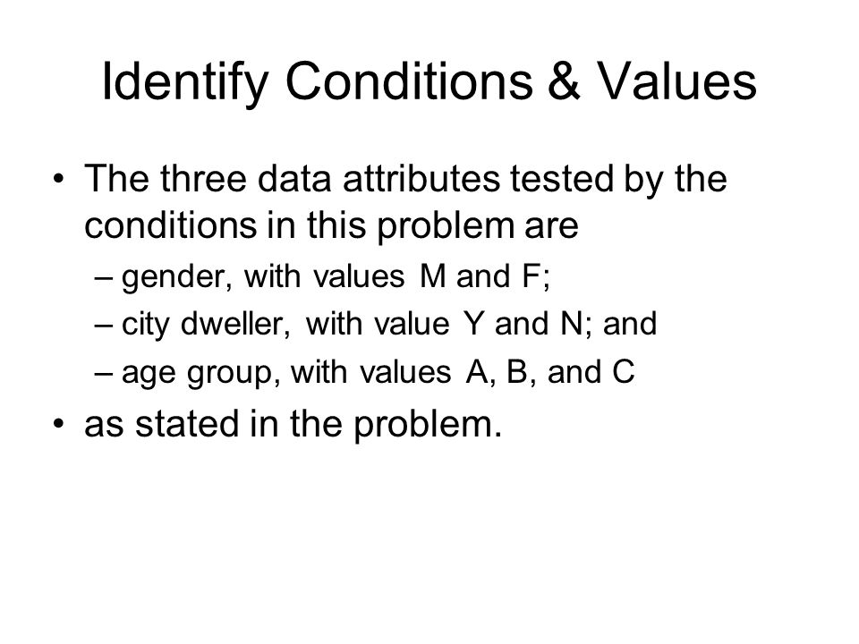 Identify Conditions & Values The three data attributes tested by the conditions in this problem are –gender, with values M and F; –city dweller, with