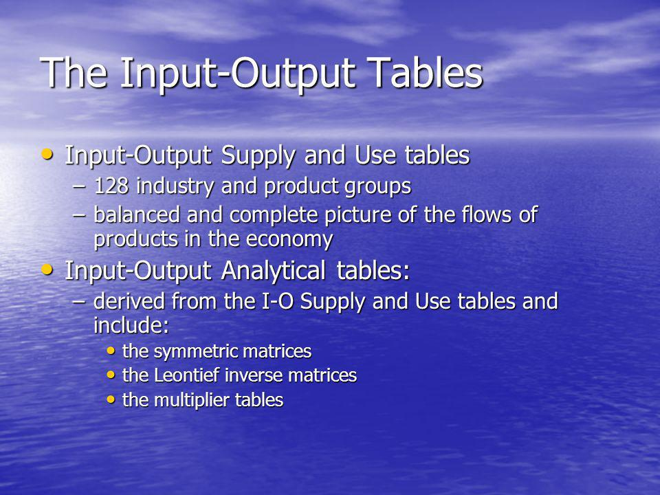 The Input-Output Tables Input-Output Supply and Use tables Input-Output Supply and Use tables –128 industry and product groups –balanced and complete picture of the flows of products in the economy Input-Output Analytical tables: Input-Output Analytical tables: –derived from the I-O Supply and Use tables and include: the symmetric matrices the symmetric matrices the Leontief inverse matrices the Leontief inverse matrices the multiplier tables the multiplier tables
