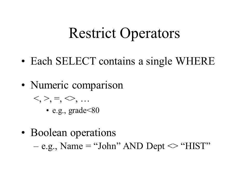 Restrict Operators Each SELECT contains a single WHERE Numeric comparison, =, <>, … e.g., grade<80 Boolean operations –e.g., Name = John AND Dept <> H